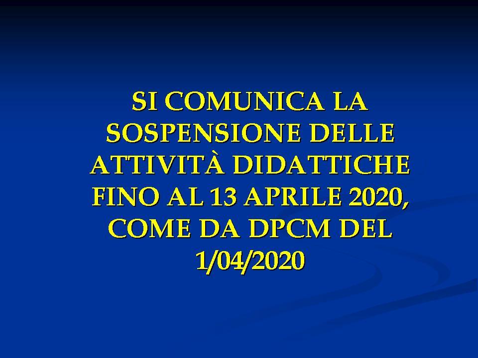 SOSPENSIONE ATTIVITÀ DIDATTICHE FINO AL 13 APRILE 2020